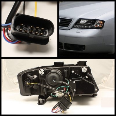 Audi A6 2002-2004 Black Projector Headlights with LED Daytime Running Lights