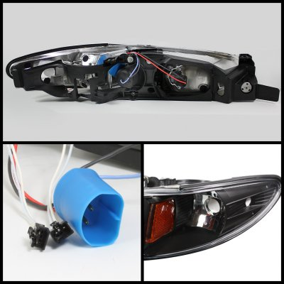 Pontiac Grand Prix 1997-2003 Black CCFL Halo Projector Headlights