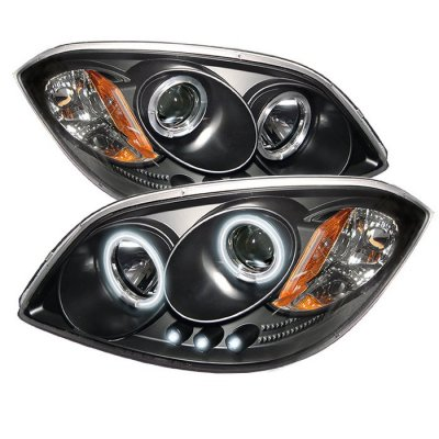 Chevy Cobalt 2005-2010 Black CCFL Halo Projector Headlights with LED