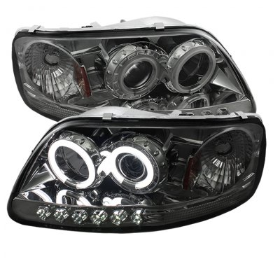 Ford F150 1997-2003 Smoked CCFL Halo Projector Headlights with LED