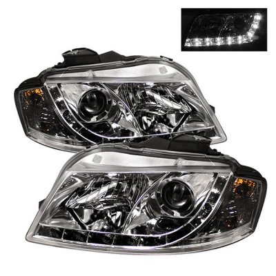 Audi A3 2006-2008 Clear Projector Headlights with LED Daytime Running Lights