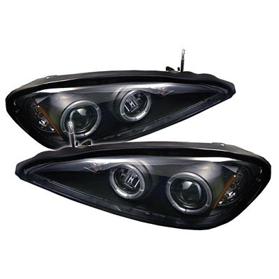 Pontiac Grand AM 1999-2005 Black Dual Halo Projector Headlights with LED