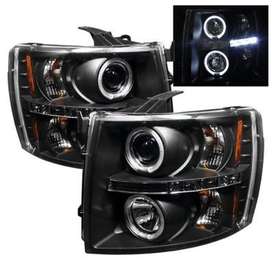 Chevy Silverado 2500HD 2007-2014 Black Dual Halo Projector Headlights with LED