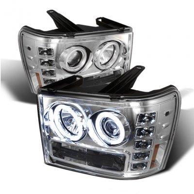 GMC Sierra 2007-2013 Clear CCFL Halo Projector Headlights with LED