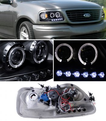 Ford F150 1997 2003 Black Halo Projector Headlights With Led
