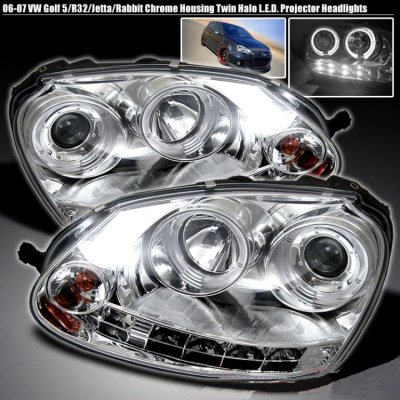 Vw Gti 2006 2009 Clear Halo Projector Headlights With Led Daytime Running Lights A103ugkp101 Topgearautosport