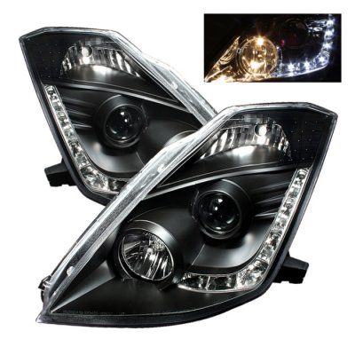 2005 Nissan 350Z Black Projector Headlights with LED DRL