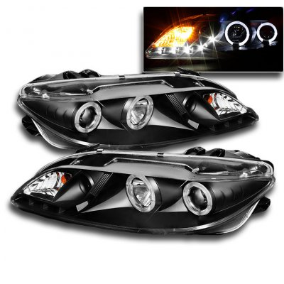 Mazda 6 2003-2006 Black Halo Projector Headlights with LED DRL