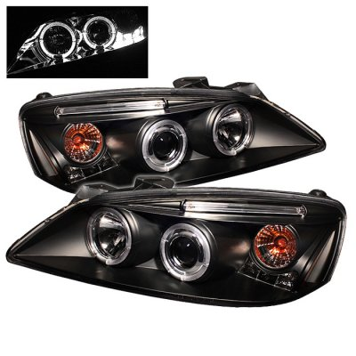 Pontiac G6 2005-2010 Black Dual Halo Projector Headlights with LED