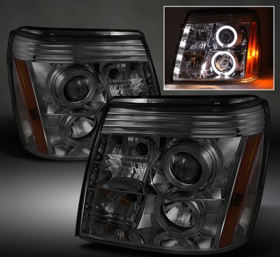 Cadillac Escalade 2002 2006 Smoked Halo Projector Headlights With