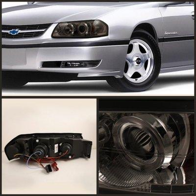Chevy Impala 2000 2005 Smoked Halo Projector Headlights