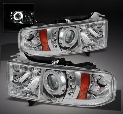 Jeep Halo Headlights >> Dodge Ram Sport 1999-2001 Clear CCFL Halo Projector Headlights with LED | A1037GPJ101 ...