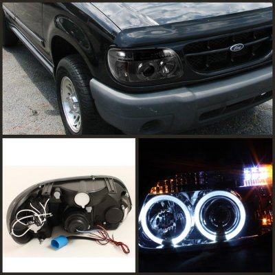 Ford Explorer 1995 2001 Smoked Dual Halo Projector Headlights