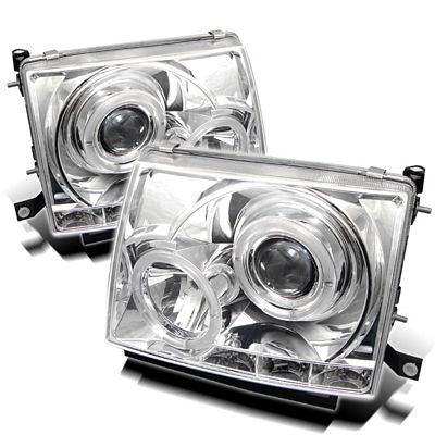 Toyota Tacoma 1997-2000 Clear Dual Halo Projector Headlights with LED