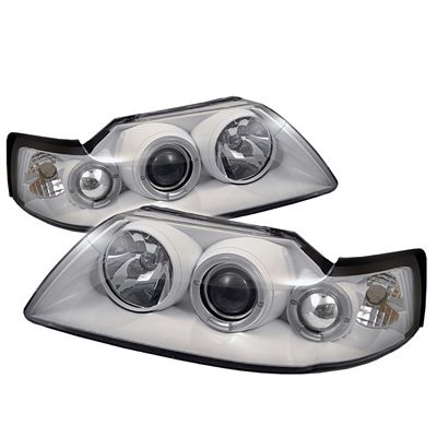 Ford Mustang 1999-2004 White Dual Halo Projector Headlights