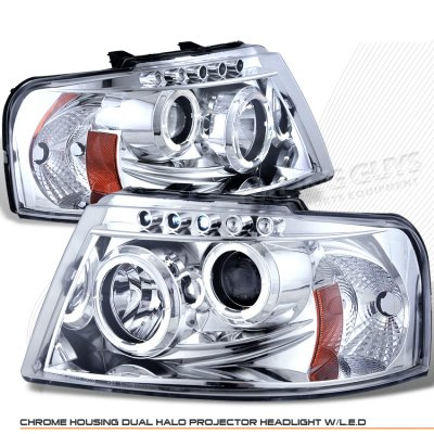 Ford Expedition 2003-2006 Clear Dual Halo Projector Headlights with Integrated LED