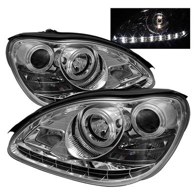 Mercedes Benz S Class 2000 2005 Clear Projector Headlights With Led Daytime Running Lights