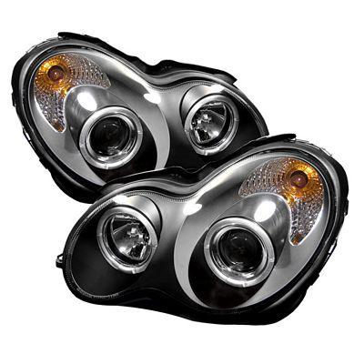 Mercedes Benz C Class 2001-2005 Black Dual Halo Projector Headlights