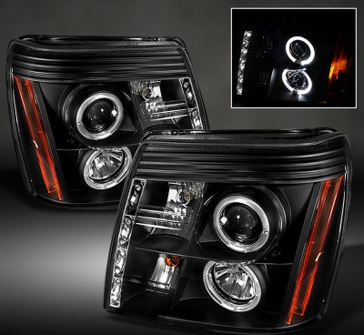 Cadillac Escalade 2002 2006 Black Halo Projector Headlights With Led