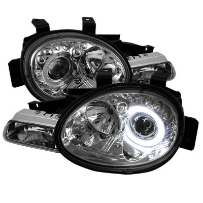 Dodge Neon 1995 1999 Clear Halo Projector Headlights With Led A1037uzt101 Topgearautosport