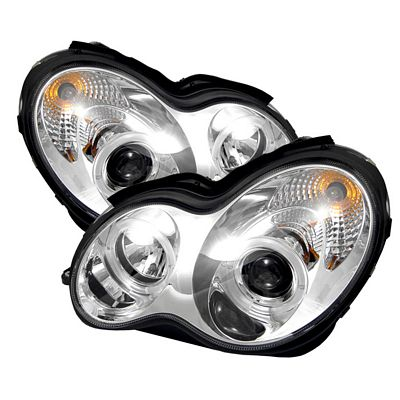 Mercedes Benz C Class 2001-2005 Clear Dual Halo Projector Headlights