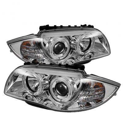 BMW 128i 2008-2013 E82 E88 Clear Dual Halo Projector Headlights
