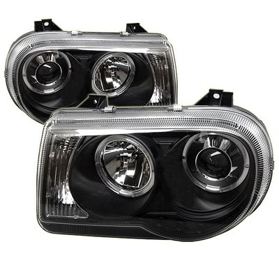 Chrysler 300C 2005-2010 Black Dual Halo Projector Headlights with Integrated LED