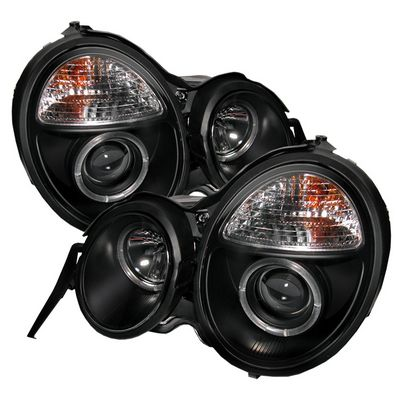 Mercedes Benz E Class 1996-1999 Black Dual Halo Projector Headlights