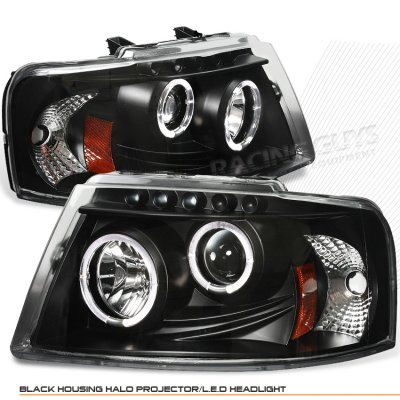 Ford Expedition 2003 2006 Black Dual Halo Projector Headlights With Led A103glb4101 Topgearautosport