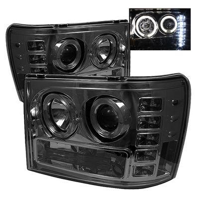 GMC Sierra 2007-2013 Smoked Dual Halo Projector Headlights with LED