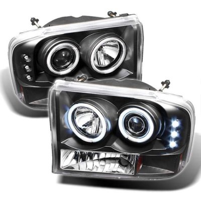 Ford Excursion 2000-2004 Black CCFL Halo Projector Headlights with LED