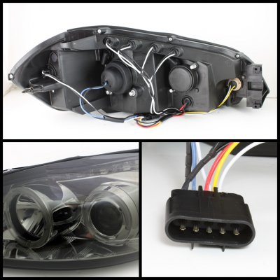 Chevy Impala 2006-2011 Smoked Dual Halo Projector Headlights with LED