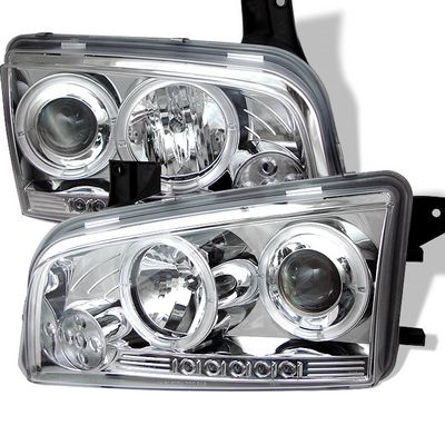 Dodge Charger 2006-2010 Clear Halo Projector Headlights with LED