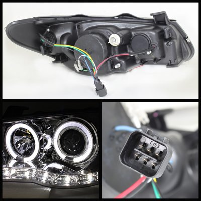 Hyundai Elantra 2007-2010 Smoked Halo Projector Headlights with LED DRL