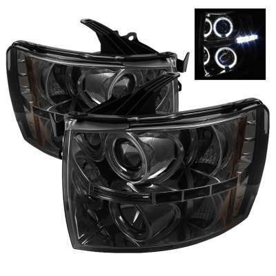 Chevy Silverado 2500HD 2007-2014 Smoked Halo Projector Headlights with LED