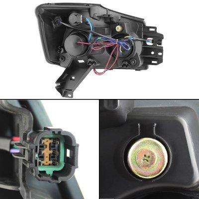 Nissan Titan 2004-2013 Black Projector Headlights Halo LED