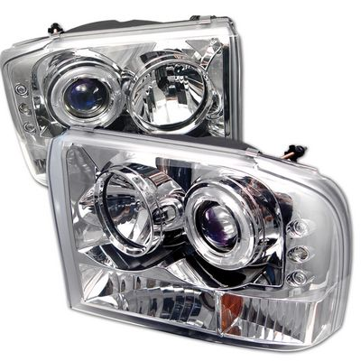 Ford F250 Super Duty 1999-2004 Clear Halo Projector Headlights with Integrated LED