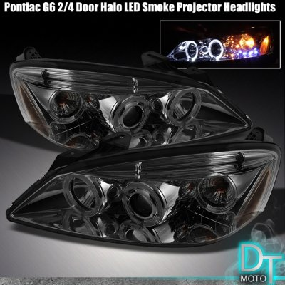Pontiac G6 2005 2010 Smoked Dual Halo Projector Headlights