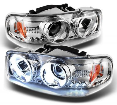 2005 gmc sierra clear ccfl halo projector headlights with. Black Bedroom Furniture Sets. Home Design Ideas