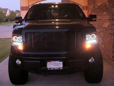 2014 F150 Headlights >> Ford F150 2009 2014 Black Dual Halo Projector Headlights Led Drl