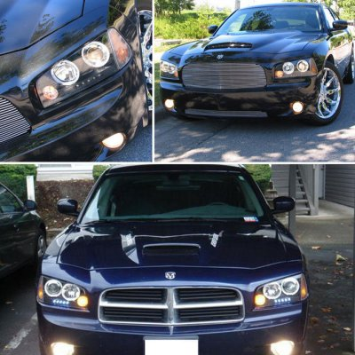Dodge Charger 2006-2010 Black Halo Projector Headlights with LED