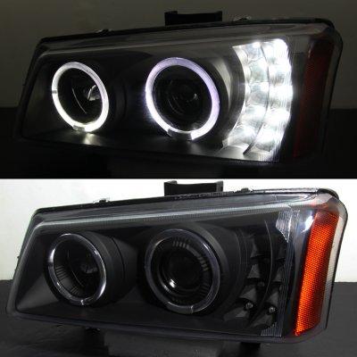 Chevy Silverado 2500 2003 2004 Black Projector Headlights