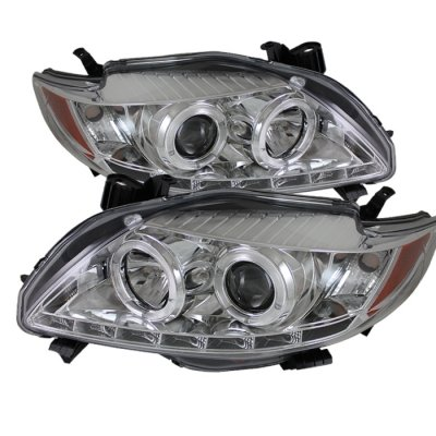 Toyota Corolla 2009 2010 Clear Halo Projector Headlights With Led Daytime Running Lights A103favi101 Topgearautosport