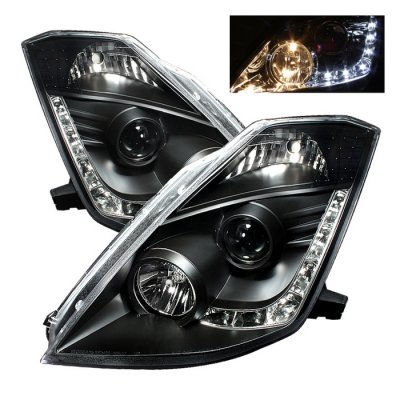 Nissan 350Z 2003-2005 Black HID Projector Headlights with LED DRL
