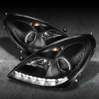 Mercedes benz slk 2005 2011 black projector headlights for Mercedes benz projector lights