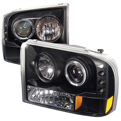 Ford F250 Super Duty 1999-2004 Black Halo Projector Headlights with Integrated LED