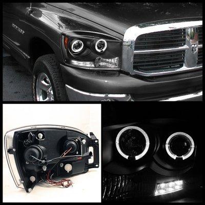 Dodge Ram 2500 2006 2009 Black Dual Halo Projector Headlights Led