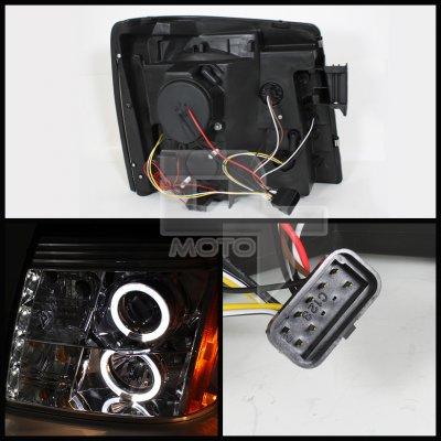 Cadillac Escalade 2002-2006 Smoked Halo Projector Headlights with LED