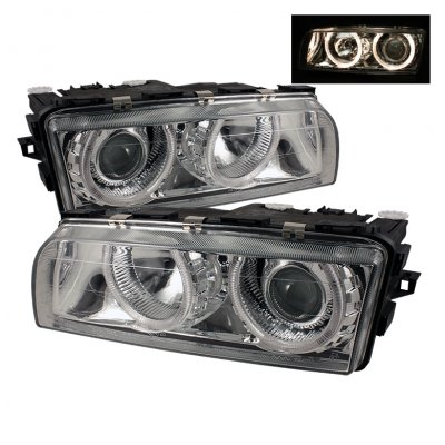 BMW 7 Series 1999-2001 Clear Dual Halo Projector Headlights