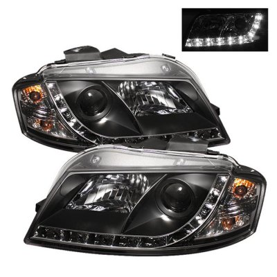 Audi A3 2006-2008 Black Projector Headlights with LED Daytime Running Lights
